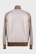 Linen and Cotton Zip-Up Logo Sweatshirt