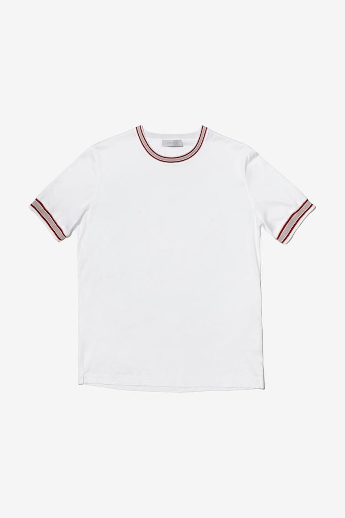 T-shirt con bordo in maglia - Cortigiani