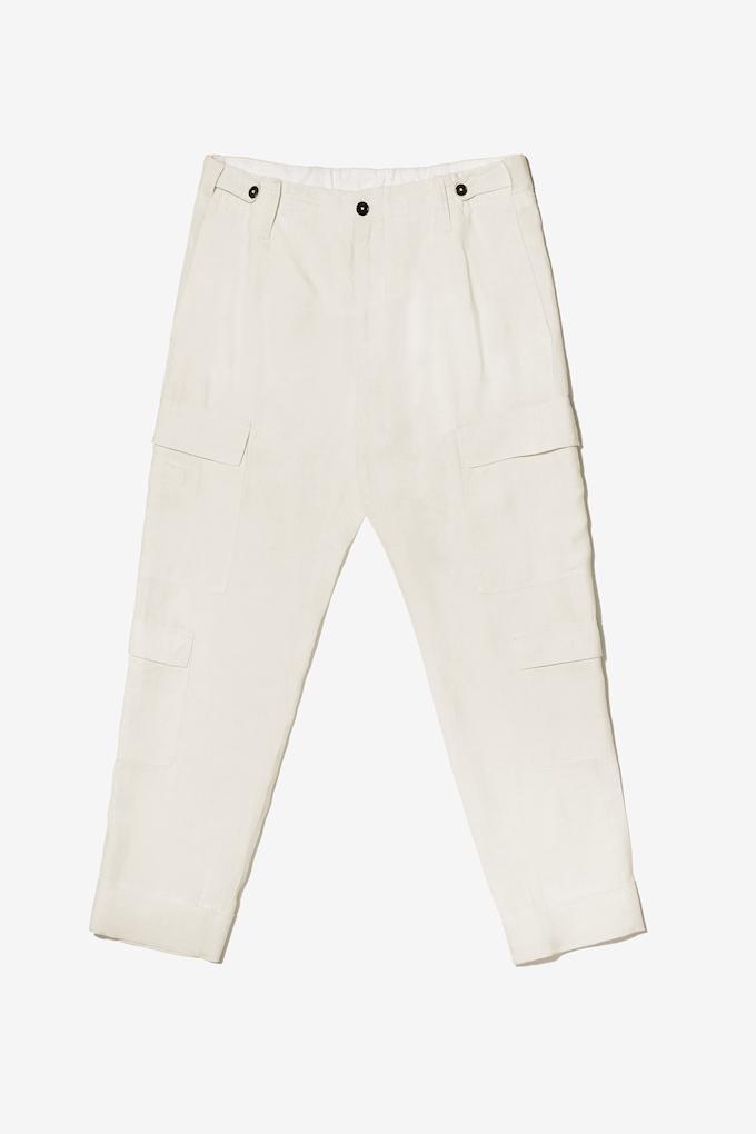 Pantalone cargo in morbido lino - Cortigiani