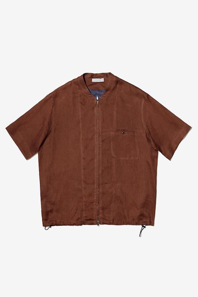 Camicia in lino con zip - Cortigiani