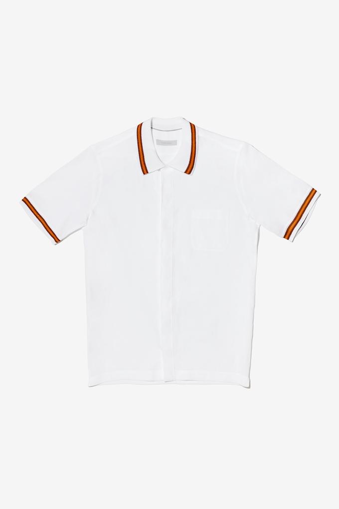 Camicia in lino con bordo in maglia - Cortigiani