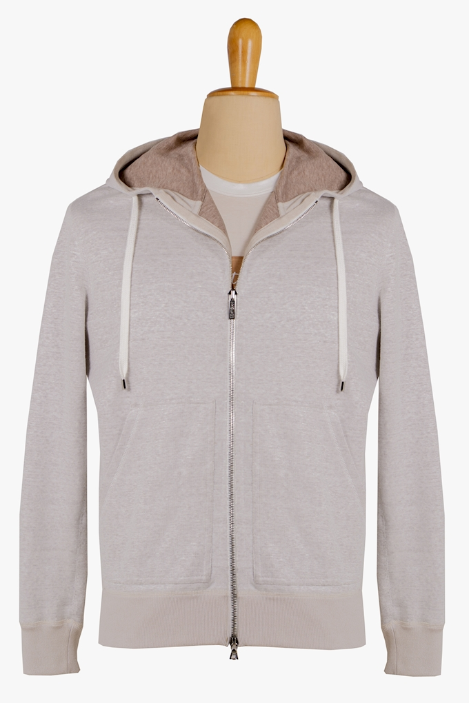 Linen and Cotton Zip-Up Sweatshirt - Cortigiani