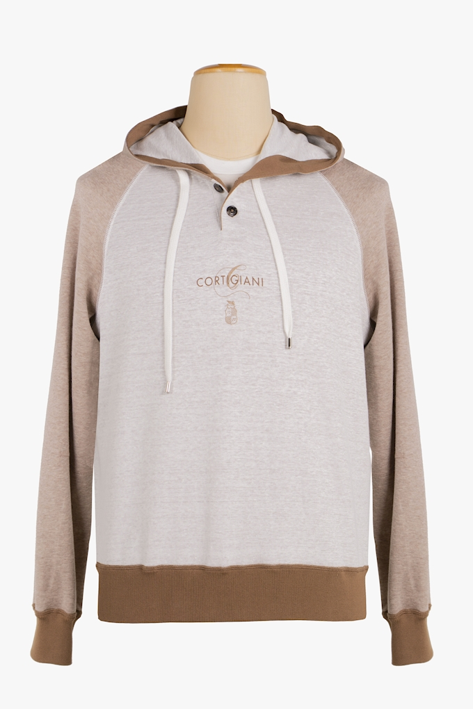 Linen and Cotton Hoodie - Cortigiani