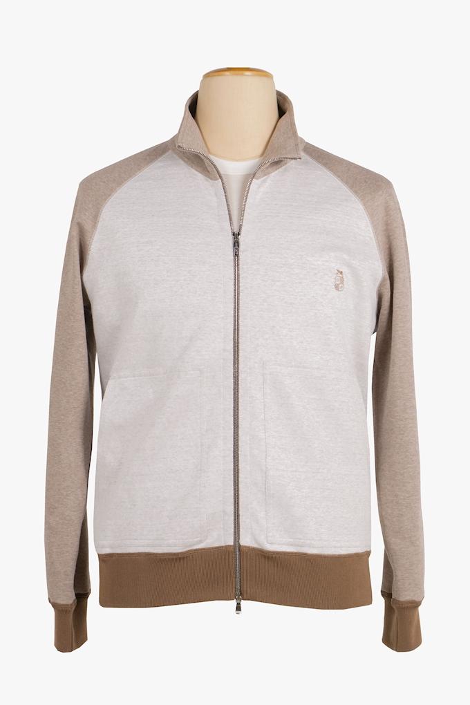 Linen and Cotton Zip-Up Logo Sweatshirt - Cortigiani