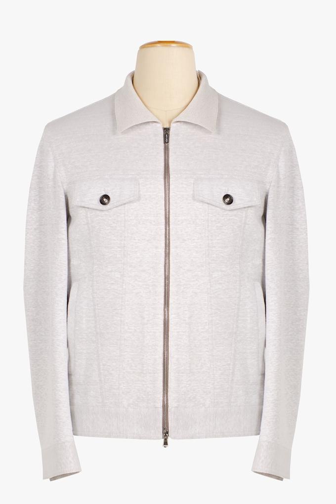 Linen and Cotton Zip-Up Jacket - Cortigiani