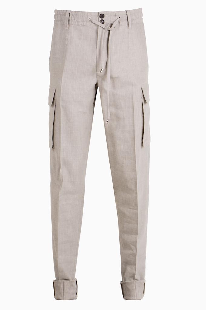 Wool and Linen Drawstring Cargo Trousers - Cortigiani