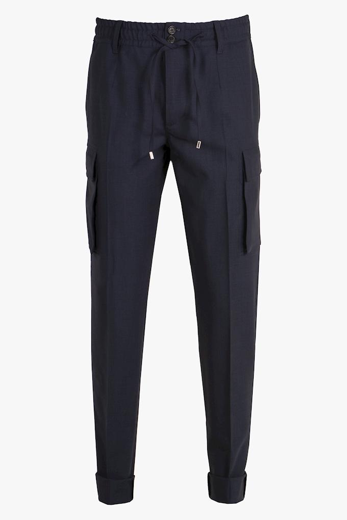 Wool Drawstring Cargo Trousers - Cortigiani