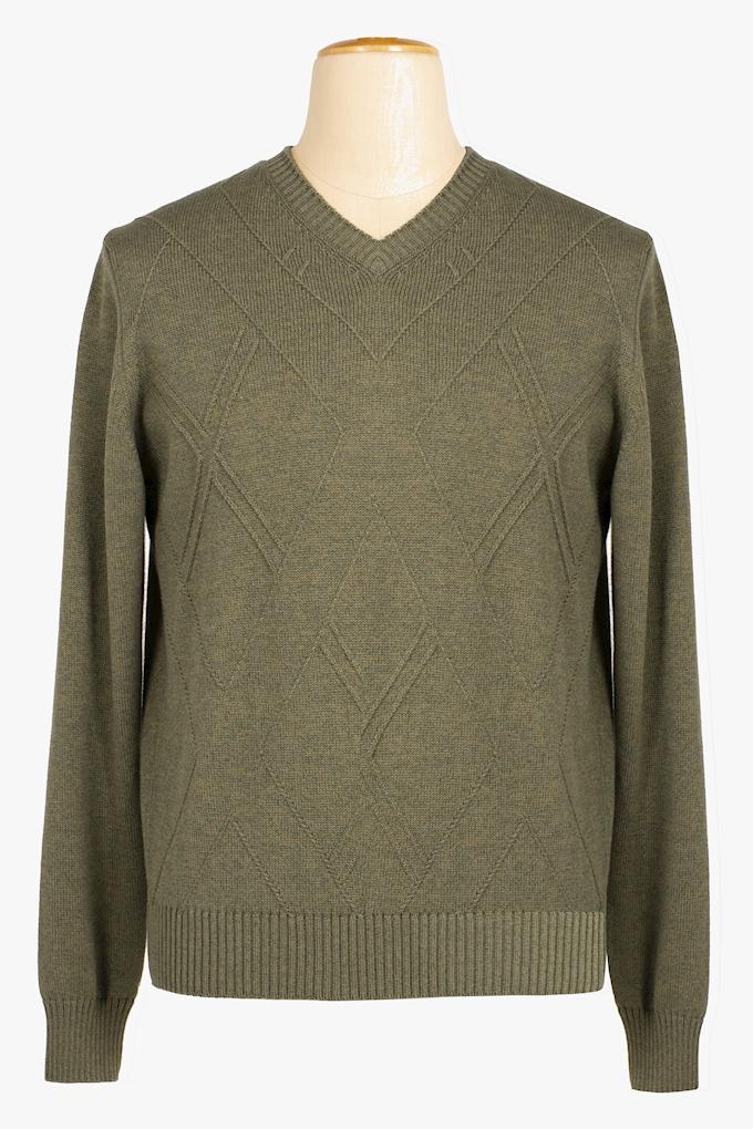 Cotton and Cachemire V-Neck Sweater - Cortigiani